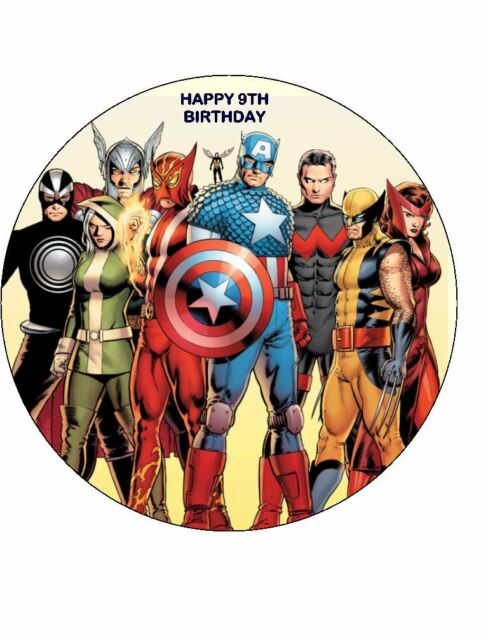 7.5 ROUND AVENGERS EDIBLE ICING BIRTHDAY CAKE TOPPER