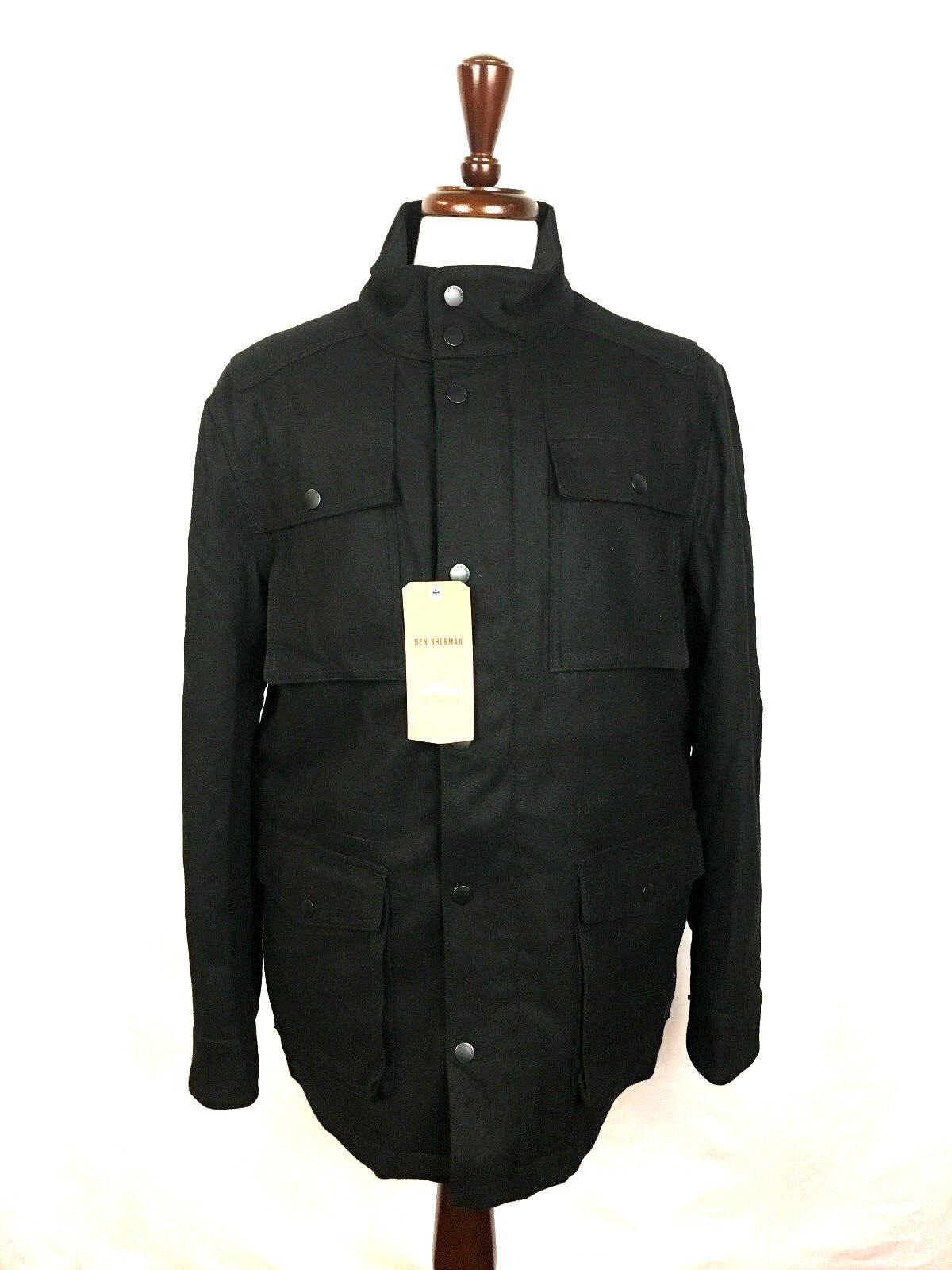 Ben Sherman Black Lined Wool Military Pea Coat Winter Jacket | eBay