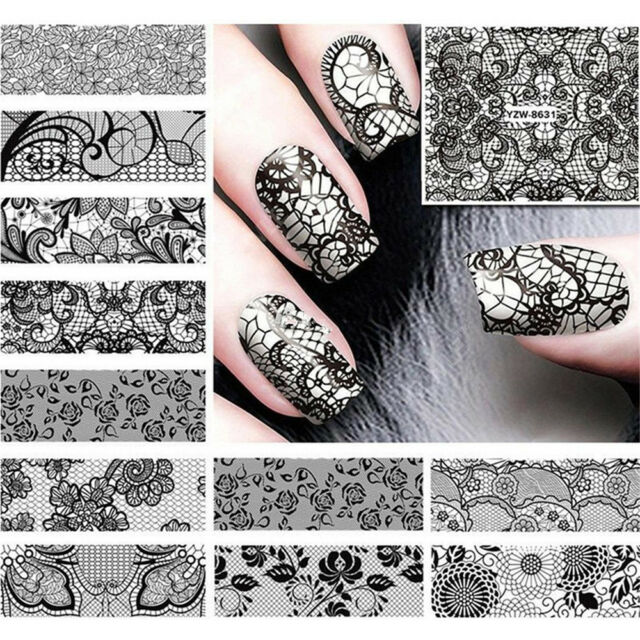 24 Sheets Black Lace Nail Art Stickers Decal Water Transfer Manicure ...