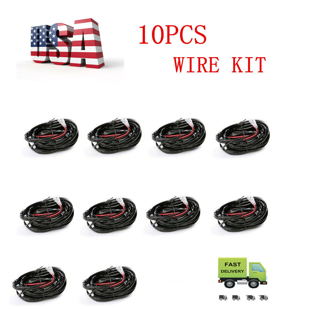 10pcs Led Light Bar Wiring Harness Kit Fuse Relay On Off Switch For Picture 1 Of 8