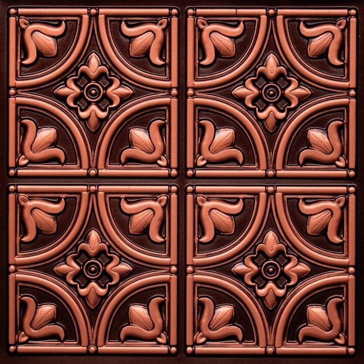 Antique Copper D148 Pvc Glue Up Ceiling Tiles Tin Look 2x2 Ebay