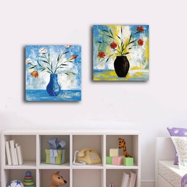 2 Panels 40×40×3cm Flowers Canvas Prints Framed Wall Art Home Decor Painting