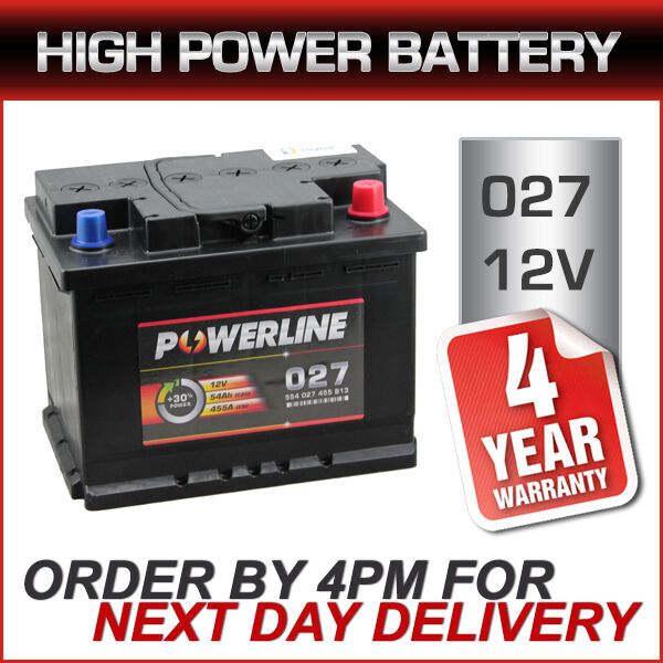 Powerline 019 Car Battery - Brand New - 4yr Warranty - Next Day Delivery