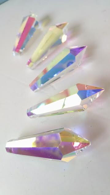 Iridescent AB Mm Icicle Chandelier Crystals Asfour Lead Crystal - Chandelier crystals ebay