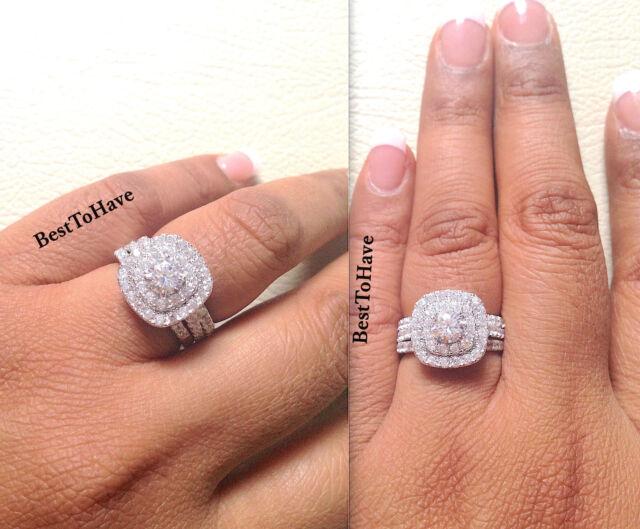 925 Silver Las 3 Piece Wedding Engagement Round Cut Halo Bridal Ring Set