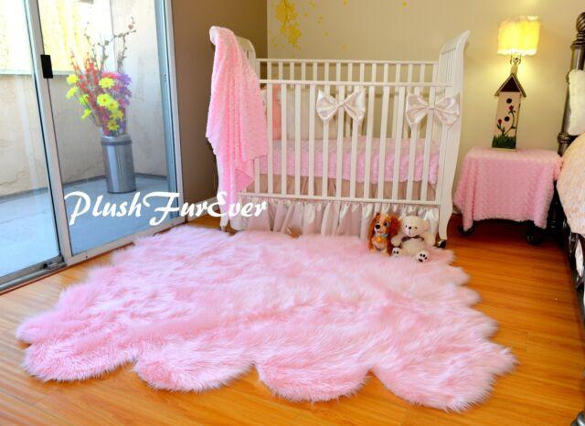 Plushfurever 5 X 6 Girl Baby Pink Sheepskin Nursery Area Rug Faux ...