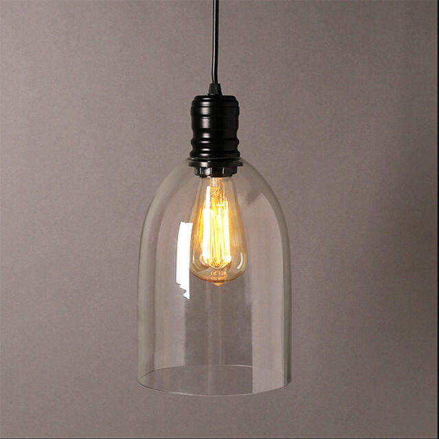 Modern Vintage Pendant Ceiling Light Glass Bell Lampshade Fitting Cafe Loft Bar
