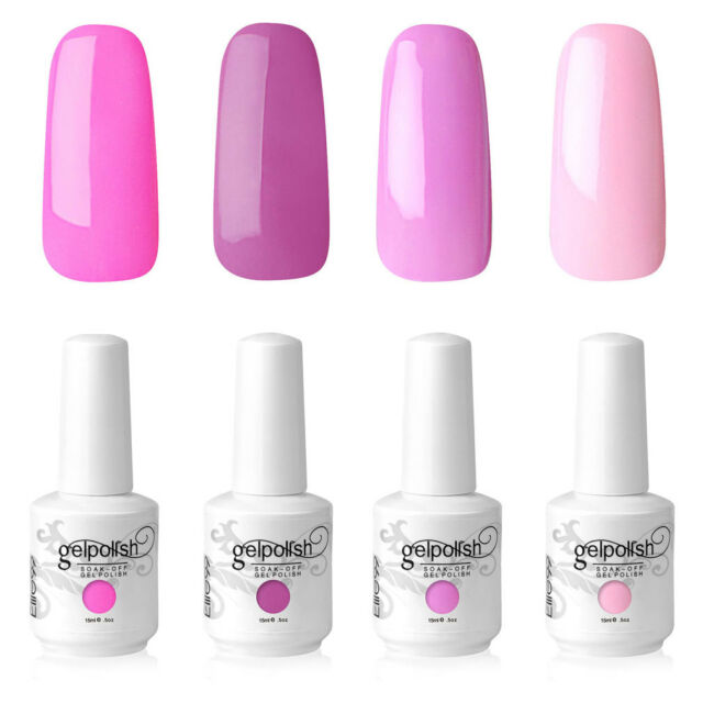 Elite99 GEL Nail Polish Soak off 4 Colours Manicure Kit Hot Pink UV ...