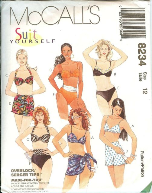McCalls 8234 Suit Yourself Swimsuits Sarong Bikinis Sewing Pattern ...