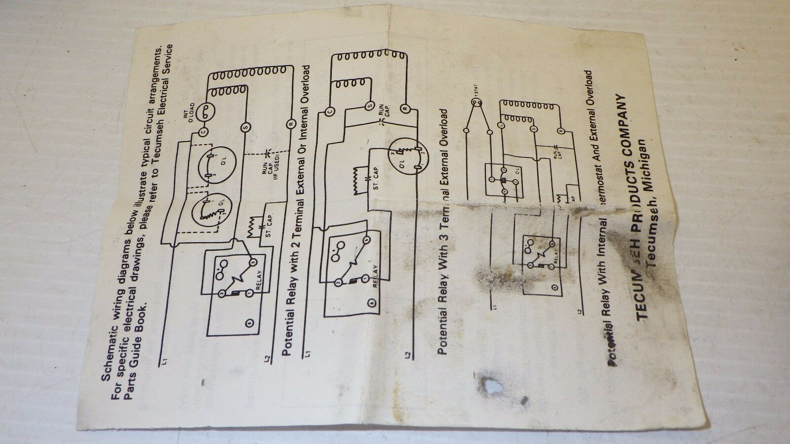 Tecumseh Potential Relay Wiring Diagram Smart Diagrams Tp82472 Current Sensing Ebay Rh Com Operation Compressor