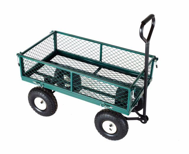 Heavy Duty Metal Truck Trolley 4 Wheels Wheelbarrow Trailer Garden