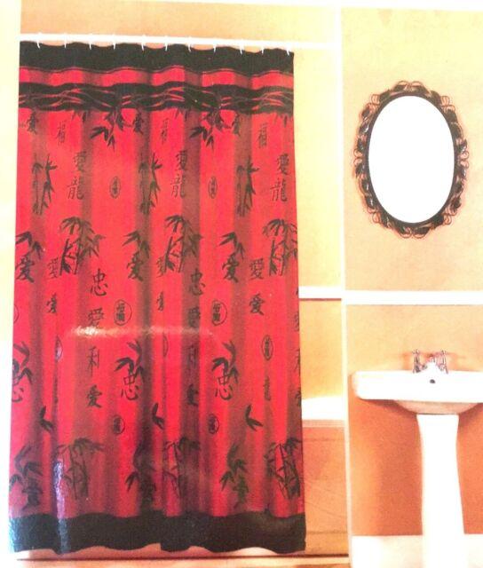 orange and black shower curtain. Asian Bamboo Fabric Shower Curtain Oriental Red Black Popular Bath