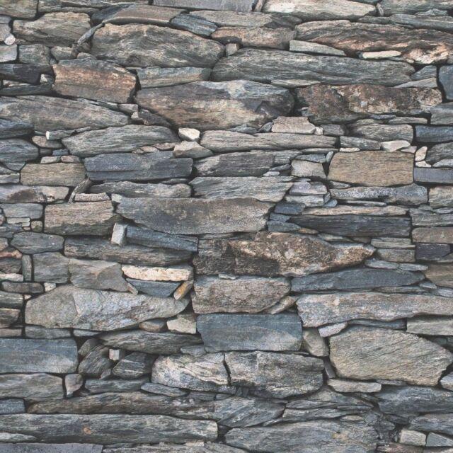 CHARCOAL GREY BRICK DRY STONE WALL EFFECT REALISTIC WALLPAPER DEBONA 1281