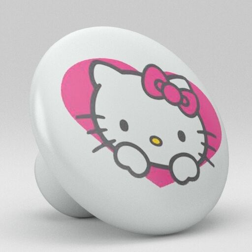 Cute Hello Kitty Heart Ceramic Knobs Pulls Kitchen Drawer Cabinet Vanity P