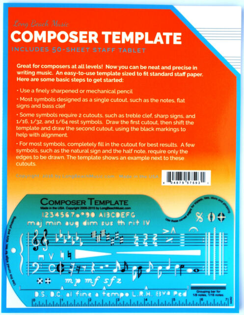 Song WriterS Composing Template For Music Notes  Symbols With