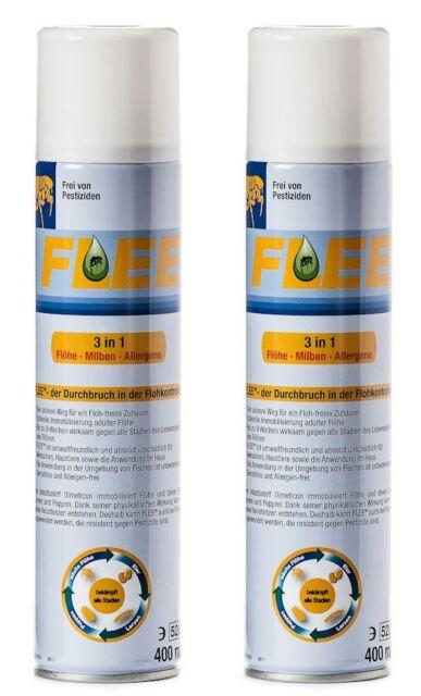 Flee 400 ml -2 Dosen- Umgebungsspray gegen Flohbefall-1 Flohkamm gratis-