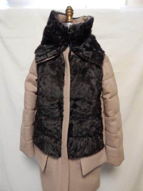 Moncler Robinier Wool Coat Front Fur Vest Size 2 -Med Beige NWT 100% Authentic