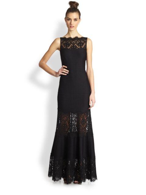 Tadashi Shoji Illusion Lace Pintuck Jersey Gown Size L #hn 233 | eBay