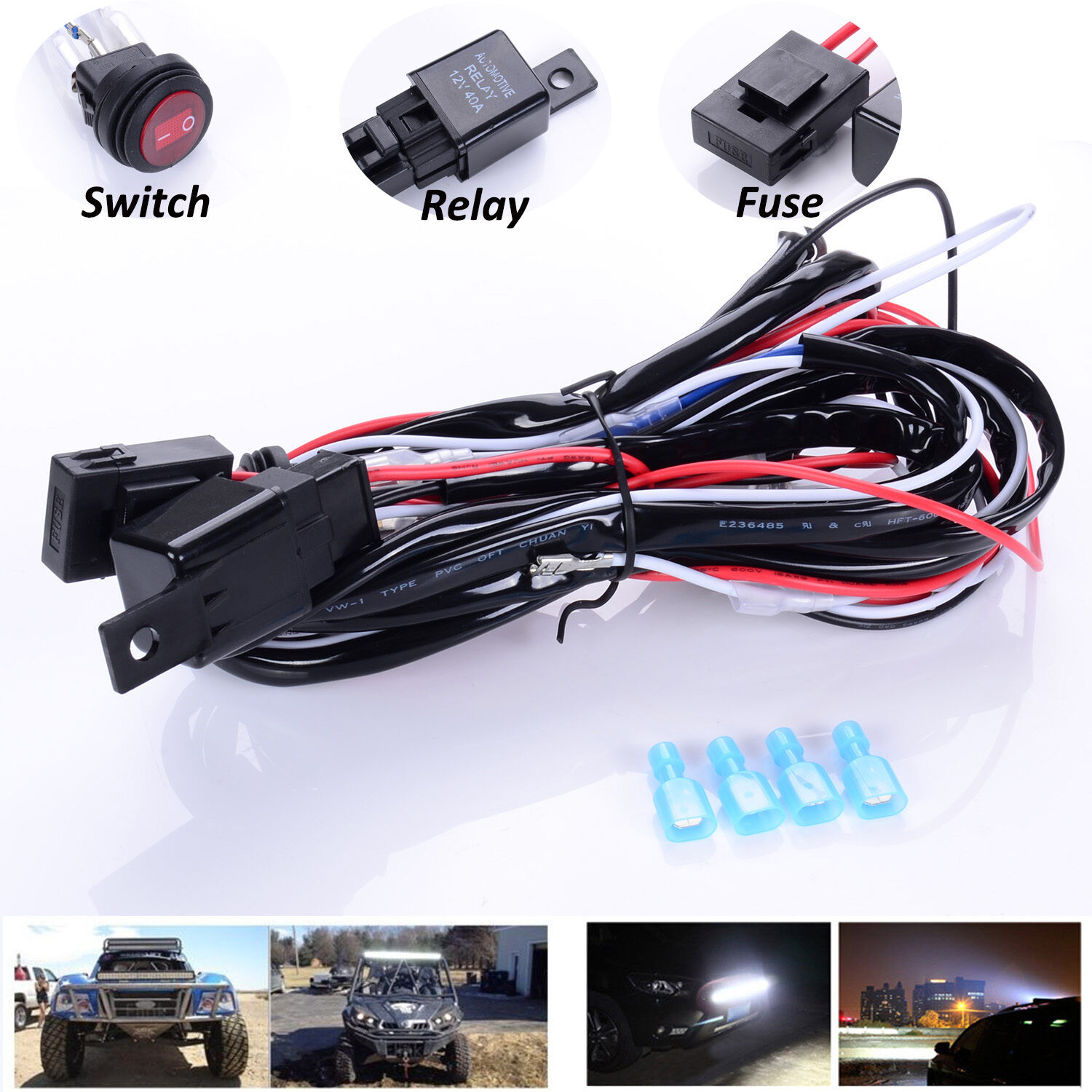 12v 40a Harness Wiring Kit Loom Fuse Relay Switch for 2 LED Work Fog ...