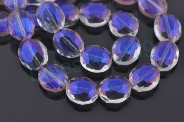 10pcs 12mm Oval Faceted Crystal Glass Charms Loose Spacer Beads Purple Colorized