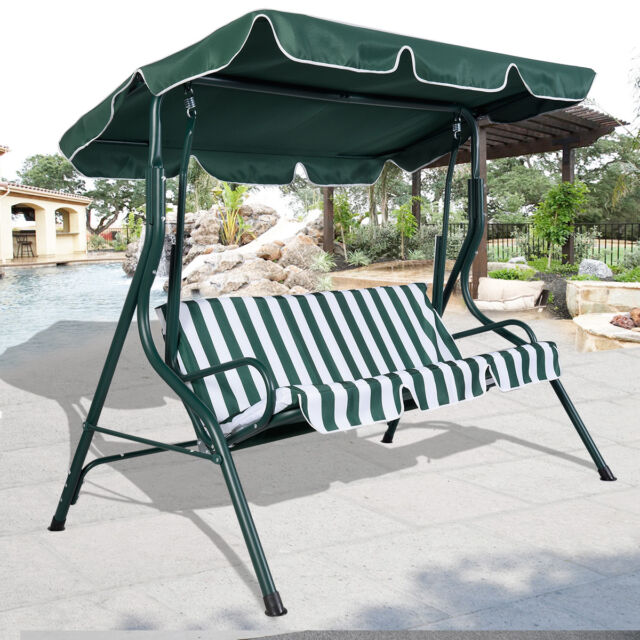 Green Outdoor Patio Swing Canopy 3 Person Awning Yard Furniture Hammock Steel & Outdoor Patio Swing 2 Person Canopy Awning Yard Furniture Hammock ...