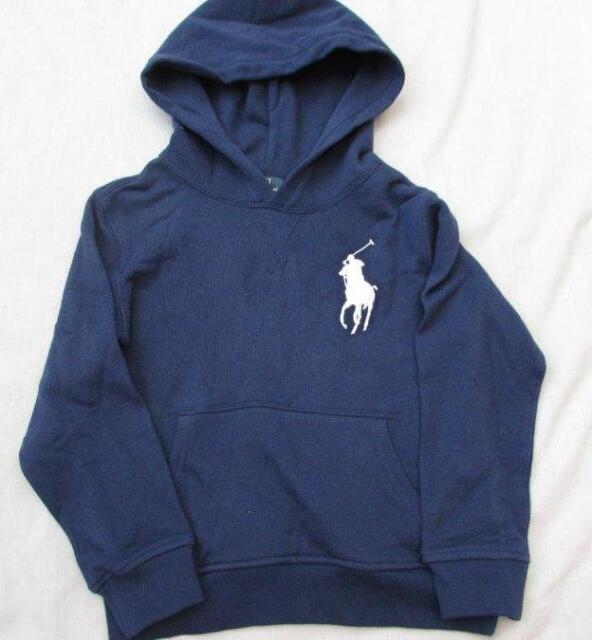 POLO RALPH LAUREN boys 2T navy blue napless fleece French terry hoodie big  pony