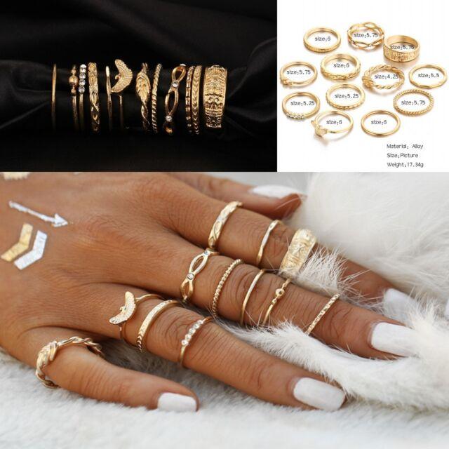 12 Pcs set Gold Midi Finger Ring Set Vintage Punk Boho Knuckle