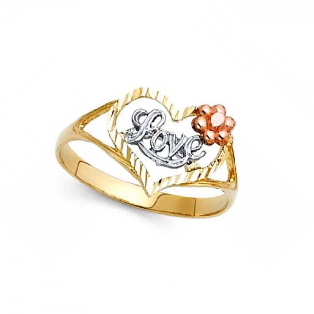 Rose heart flower ring 14k yellow gold love band ebay heart love ring 14k yellow white rose gold flower band diamond cut fancy solid mightylinksfo
