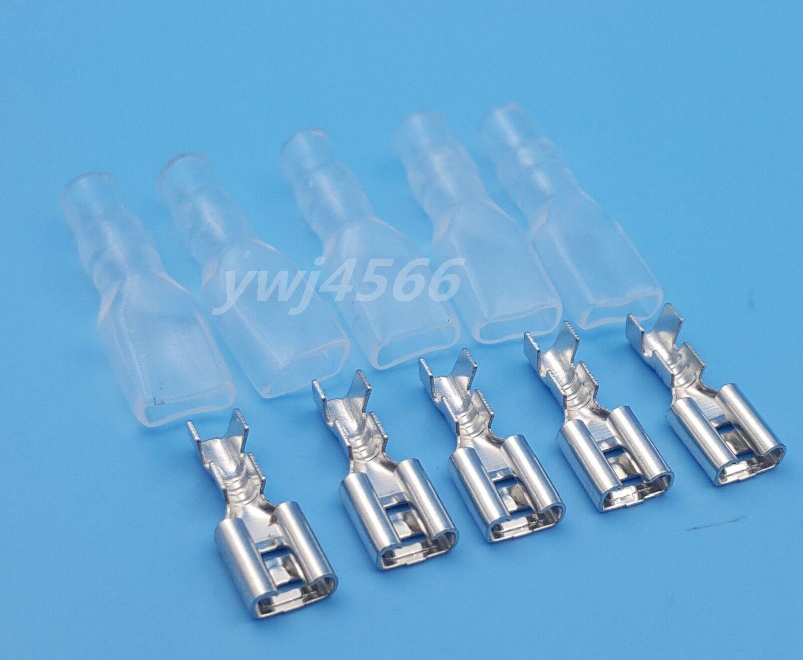 100pcs Female 4.8mm Spade Insulated Electrical Wiring Crimp Terminal ...