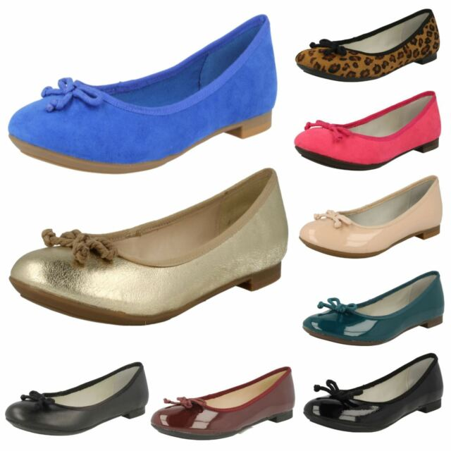 LADIES CLARKS SLIP ON LEATHER BOW DETAIL BALLERINA FLAT SHOES CAROUSEL RIDE  SIZE