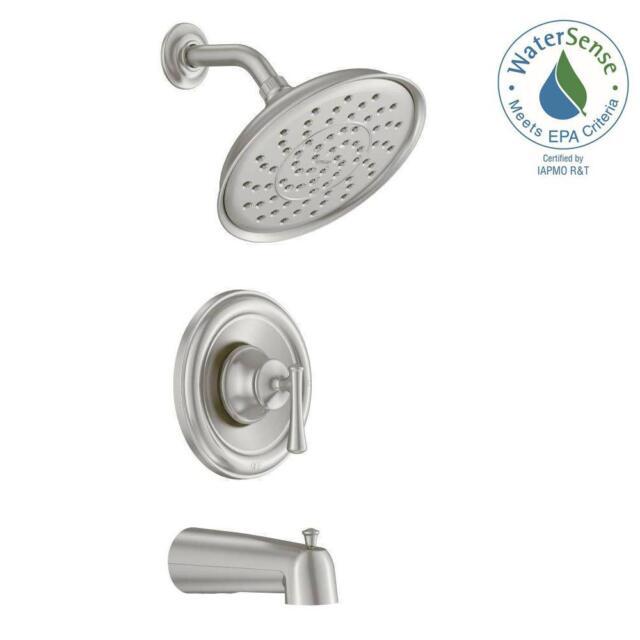 Moen 82877SRN Ashville Tub & Shower Faucet Brushed Nickel Wall Mount ...
