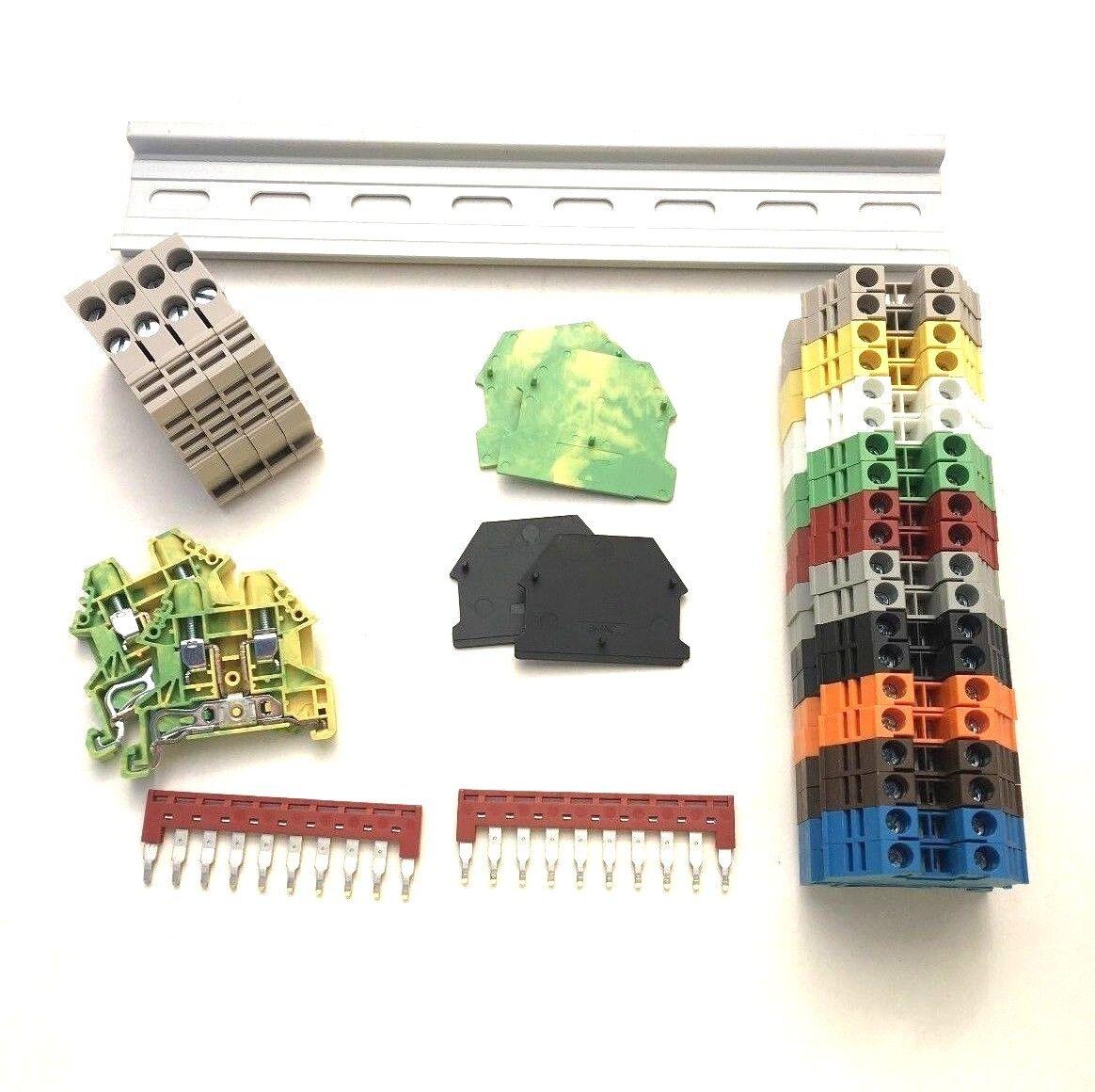 Terminal Block Jumpers Ebay Wiring Board Busbar Any Color Din Rail Kit Dinkle 20 Dk4n 10awg 30a 600v Gnd Jumper