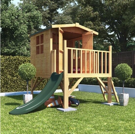 childrens wooden playhouse treehouse tower slide outdoor. Black Bedroom Furniture Sets. Home Design Ideas