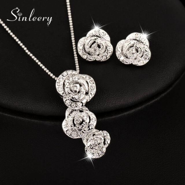 18k White Gold 3 Rose Flower Pendant Necklace Earrings Wedding