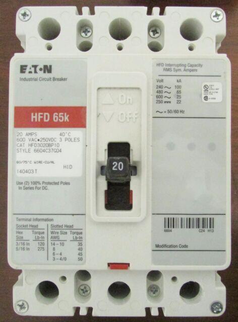 Eaton Cutler Hammer HFD Hfd3020bp10 3 Pole 20 Amp Circuit Breaker ...