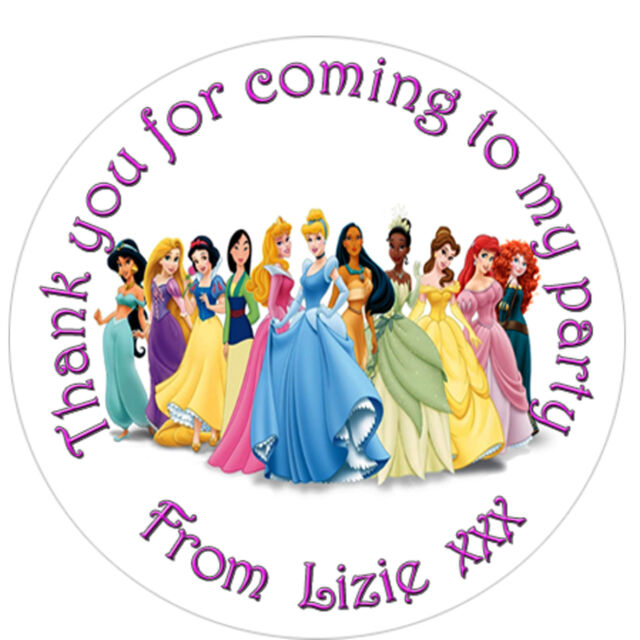 Personalised disney princess inspired labels sticker party sweet cone bags