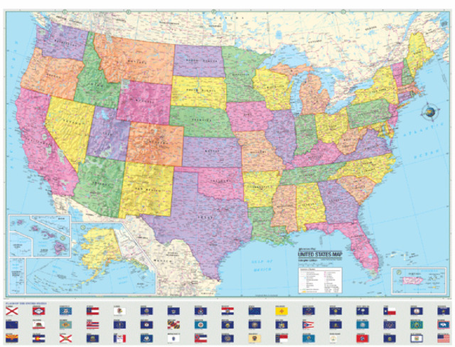 United states political map poster usa flag home 48x36 when united states political map poster usa flags home 48x36 when unfolded sciox Image collections