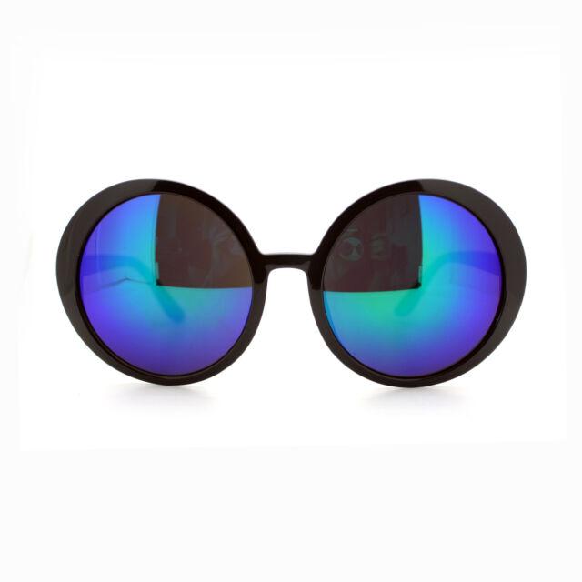 Multicolor Mirror Lens Womens Sunglasses Oversized Round Circle ...