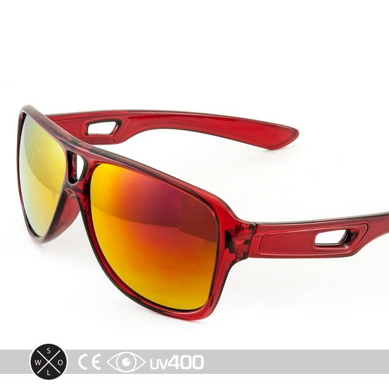 Clear Red Large Frame Mirrored Lens Aviator Style Sunglasses Sport ...
