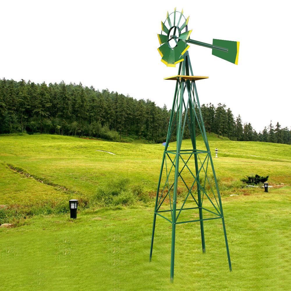 Green Metal 8ft Windmill Yard Garden Decoration Weather Rust ...