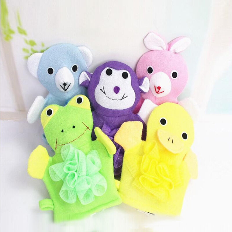 Baby Cartoon Animal Design Bath Sponge Kids Shower Mitt Cute Glove ...