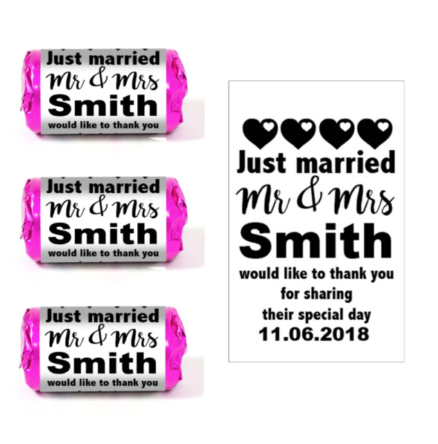 100 custom personalised black wedding favour love heart sweet stickers labels