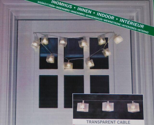 Konstsmide LED Würfel - Lichterkette warm weiß 10 LED Stern Effekt Hologramm