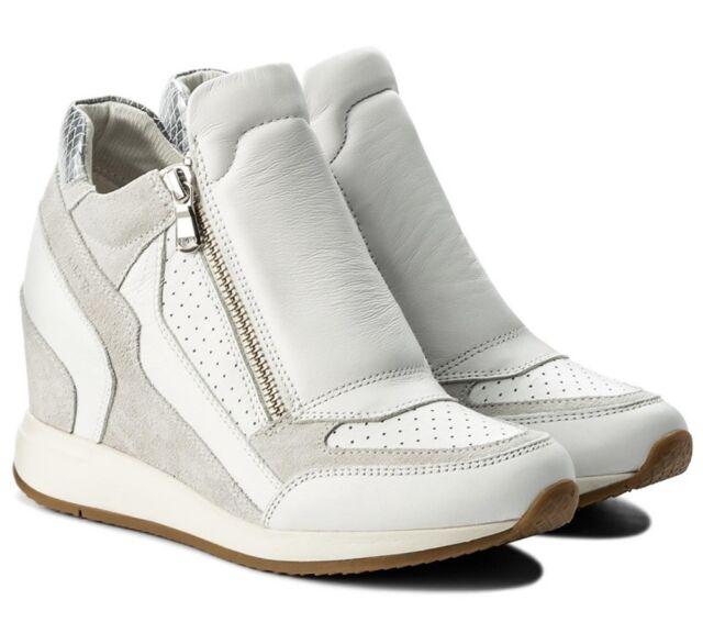 Donna Geox Scarpe D Nydame A Zeppa Tacco Stivali Sneaker Bianco