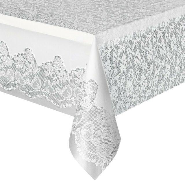Disposable Plastic Tablecloth Dining Kitchen Table Cover Protector White Lace