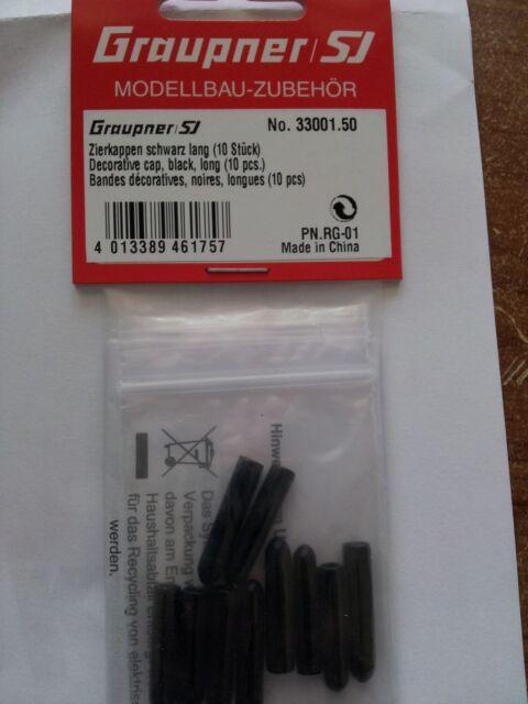 Graupner Zierkappen schwarz lang (10 Stück) Graupner 33001.50