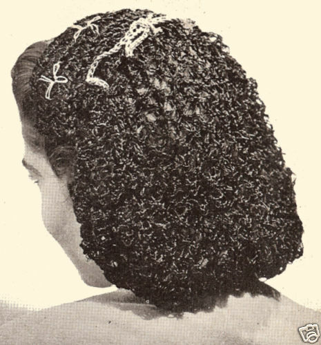 Vintage Crochet Pattern To Make Snood Hairnet Head Band Headgear