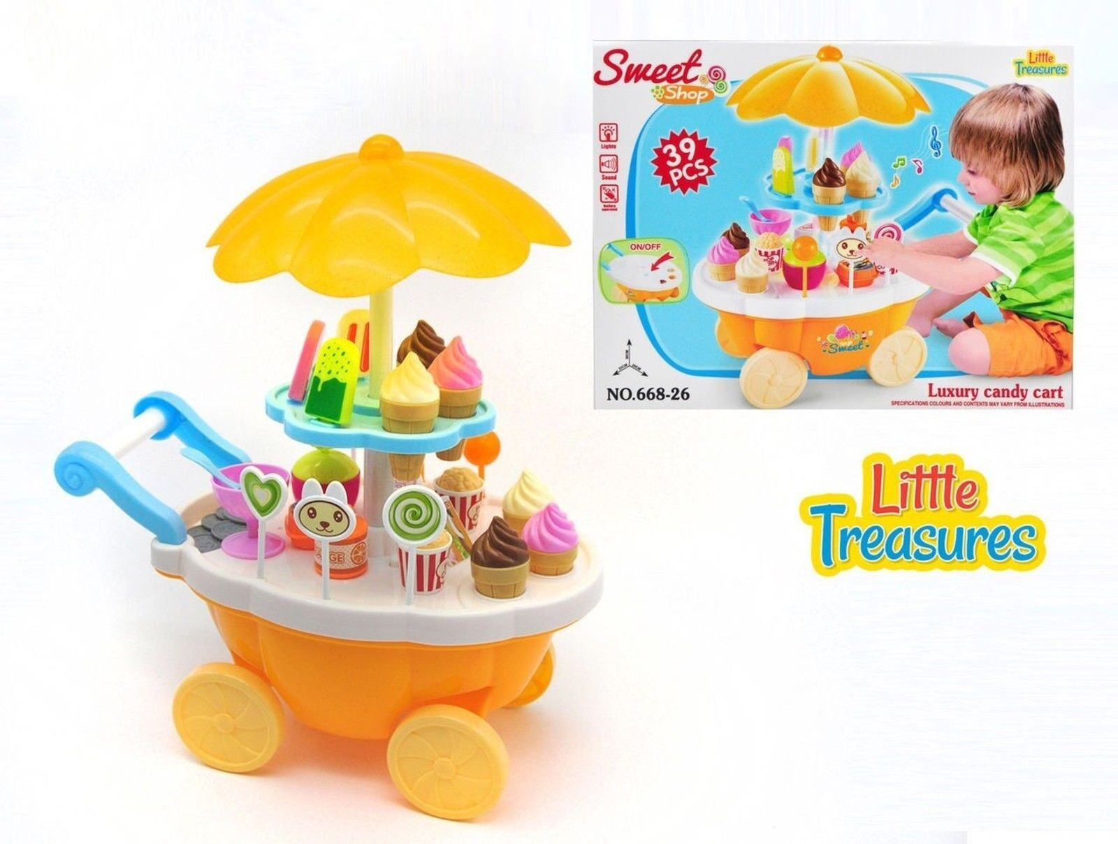 Little Treasures Pretend & Play Mini Sweet Shop Toy Cart for Kids