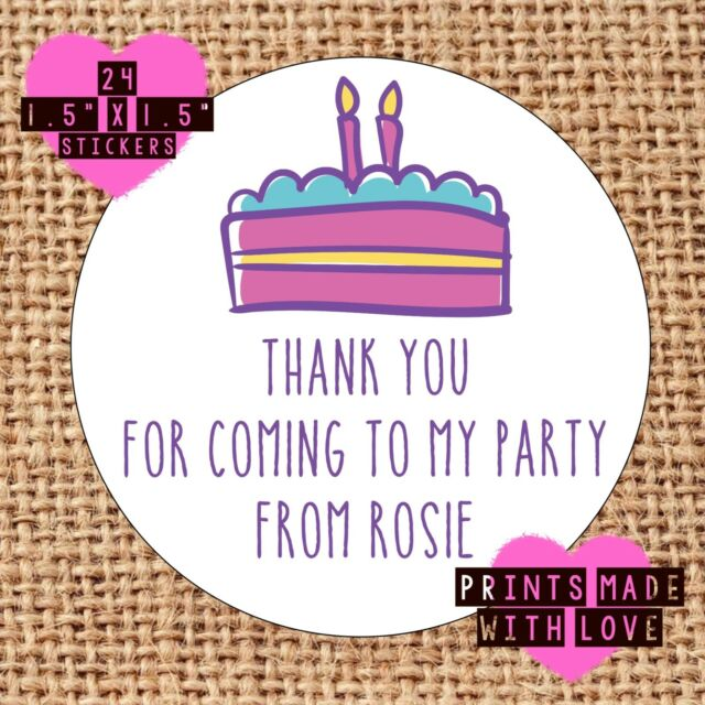 Personalised Birthday Cake 24 Party Bag Stickers Sweet Cone Labels