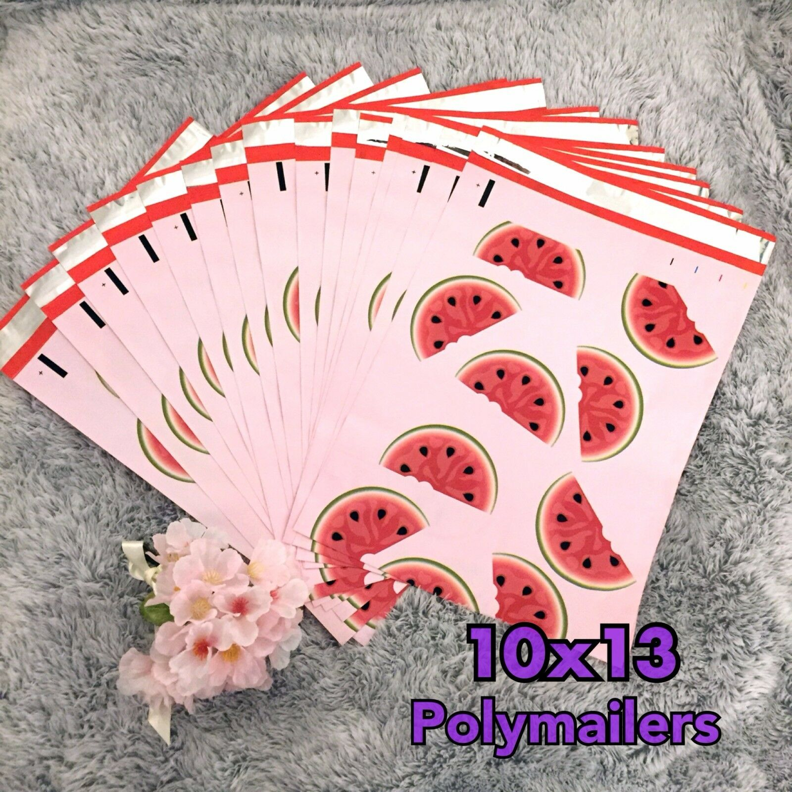 30 DESIGNER Printed Poly Mailers 10x13 Envelopes Bags Watermelon